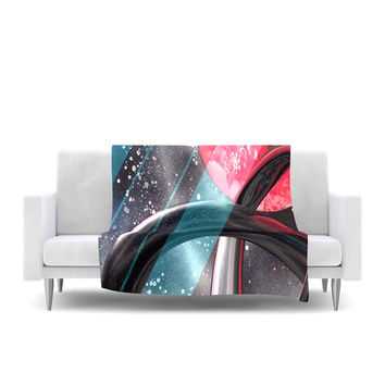 "Infinite Spray Art ""Geometric Mars"" Black Teal Red Fleece Throw Blanket"