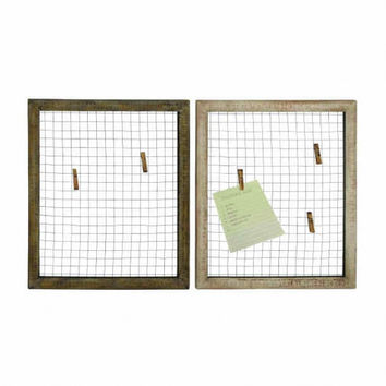 Set of 2 Square Wood and Chicken Wire Wall Panel Photo Collages