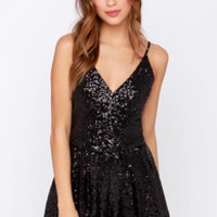 Short and Sweet Black Sequin Romper
