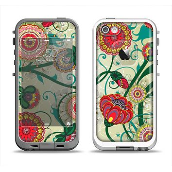 The Vintage Green Floral Vector Pattern Apple iPhone 5-5s LifeProof Fre Case Skin Set