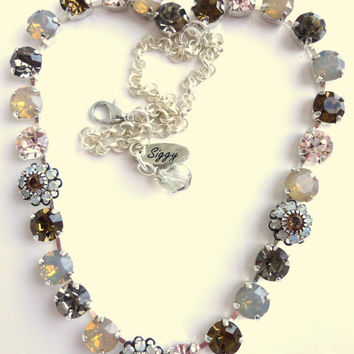 swarovski crystal necklace, opals and browns, better than sabika, GREAT PRICE
