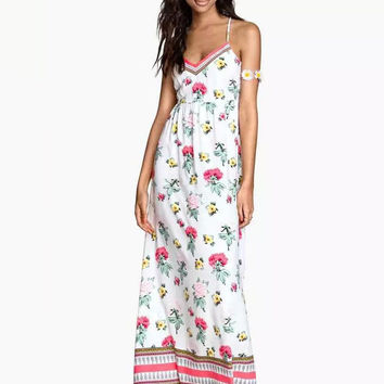 White Floral Spaghetti Strap V-Neck A-Line Maxi Dress