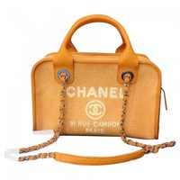 Cloth handbag CHANEL Orange