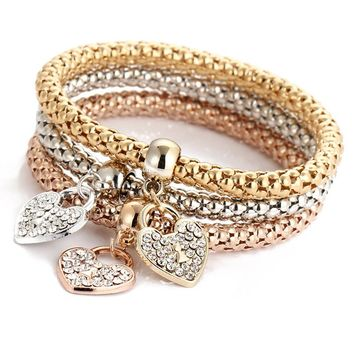 Cindiry Top Brand Luxury 3pcs/lot Shiny Metal Bracelets For Women Heart/lock/key Pendant Bangles Women Gift brazaletes P0.5