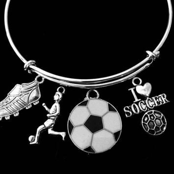 I Love Soccer Jewelry Girl Playing Soccer Cleats Adjustable Bracelet Silver Expandable Charm Bangle One Size Fits All Gift