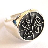 Solid Sterling Silver 925  LED ZEPPELIN BAND Four Symbol Ring