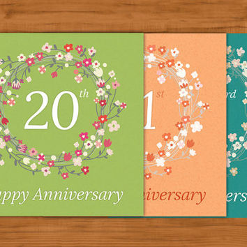 Printable ANNIVERSARY greeting card - Choose and print your personalized card between 53