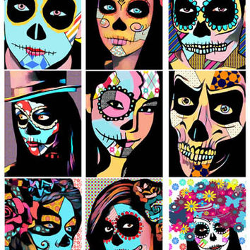 Day Of The Dead abstract art collage sheet skeletons skull graphics digital download images printable art dia de los muertos printables