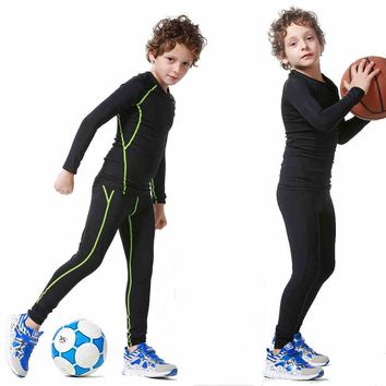 2017 New Kids Boys compression runing pants shirts set survetement football youth soccer basketball sport skinny tights leggings