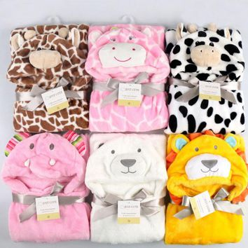 Lovely fleece baby bath towel cute animal shape kid hooded baby towel bathrobe cloak baby receiving blanket  neonatal hold to be