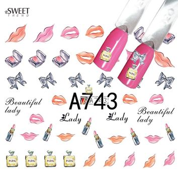 1 Sheet DIY Design Sexy Lips/Perfume Bottle Water Transfer Nail Art Sticker Decals For Nail Tips Decoration LAA743