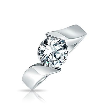 3CT Solitaire AAA CZ Bypass Engagement Ring Band 925 Sterling Silver