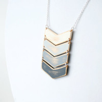 Gray Ombre Wooden Chevron Necklace
