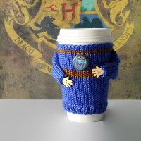Ravenclaw cup cozy. Harry Potter travel mug cozy. Witchcraft Wizardry school alumni. Hogwarts coffee cozy. Hufflepuff sweater. Teen gift.