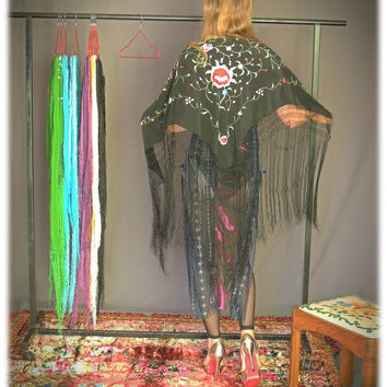 Silk fringe piano shawl / hand embroidered colourful thread on black / large oriental wrap / Art Deco bridal wedding stole
