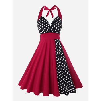 Polka Dot Panel Knot Halter Dress