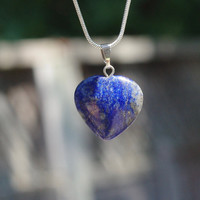 Lapis Lazuli Stone Heart Pendant Necklace on a Sterling Silver Chain