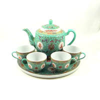 Vintage Chinese Tea Set by Zhongguo Jingdezhen in Mun Shou Longevity Pattern