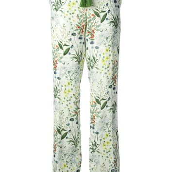 Tory Burch Floral Print Straight Leg Trousers