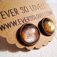copper sandstorm brown and tan sparkly round earrings by eversolovely