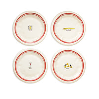 Rae Dunn French Picnic Plates, Set of 4