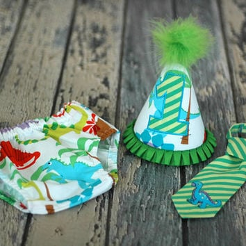 Boys Birthday Party Hat, Diaper Cover, Tie - Smash Cake, Photo Prop - Dino Dinosaur Dino Roar in Multi Color Green Lime Purple