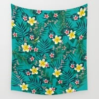 Tropical Pattern Wall Tapestry by Ashley Hillman