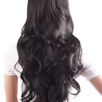 Heat Resistant Charming Women's Long Curly black hair Wigs (NWG0LO60699-BL2)