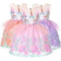 2018 summer hot style Girls baby Sleeveless Unicorn applique Dress Children's party sweet princess dress