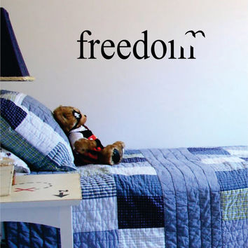 Freedom with Bird Design Small Quote Decal Sticker Wall Vinyl Decor Art