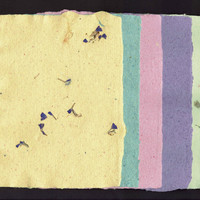 "Handmade Paper, Deckle Edge, 5 Sheets, 5""x7"", Orange, Green, Red, Purple, Recycled Paper, Textured, Crafts, Special Paper"