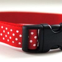 Red Polka Dot Dog Collar Adjustable Sizes (XS, S, M)