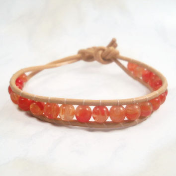 Leather Wrap Bracelet Orange Red Beads Bracelet