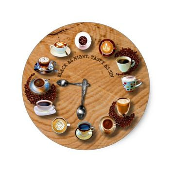 Cups Of Black Coffee With Beans As A Clock Classic Round Sticker