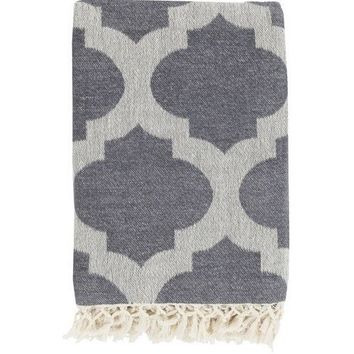 Quatrefoil Charcoal Grey Throw Blanket