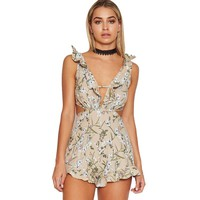 Summer Beach Party Print Flower Rompers Womens Jumpsuit V Neck Backless Bandage Boho Ruffles Combinaison Femme Overalls Playsuit