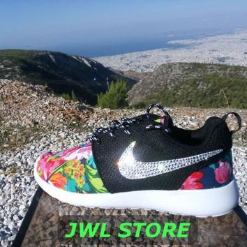 wmns custom nike roshe run shoes with fabric floral dark blue color sneakers blinged w