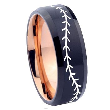 8mm Baseball Bevel Tungsten Carbide Rose Gold Men's Wedding Ring