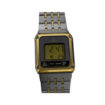 Omega Equinoxe Vintage Reverso Retro Mens Digital & Analog Watch - Stainless Steel & Gold Plated