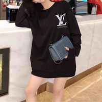"""Louis Vuitton"" Women Fashion Edgy Pattern Letter  Print Noctilucent Long Sleeve Round Neck Top Sweater"