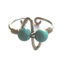 Light Turquoise Wrapped Silver Wire Dual Arrow,Pulse,Zig Zag Toe-Midi-Knuckle Ring Adjustable size
