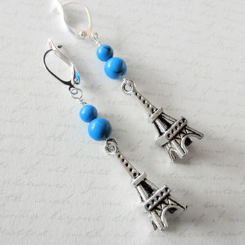 Turquoise Bead and Silver Eiffel Tower Charm Dangle Earrings