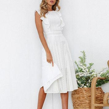Ruffles white lace midi dress women Hollow out fit and flare casual dress Summer high waist white dress vestidos