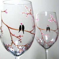Hand Painted Wine Glasses Birds on Tree Branch by PrettyMyDrink