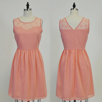 LORRAINE (Rose Gold) : Rose Gold coral chiffon dress, lace sweetheart neckline, vintage inspired, party, day, bridesmaid