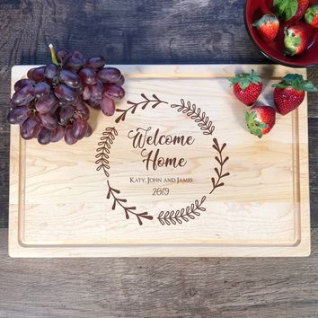 Welcome Home Cutting Board. Realtors Gift. Closing Gift. Housewarming Party Gift. #27