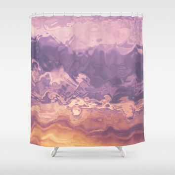 Gold violet pattern Shower Curtain by Tanja Riedel