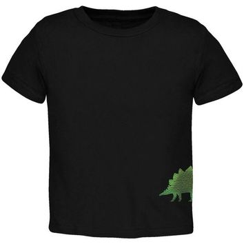 DCCKJY1 Stegosaurus Dinosaur Distressed Black Toddler T-Shirt