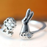 Bunny Clover Ring Rabbit Ring Adjustable Free Size Open Wrap Ring gift idea