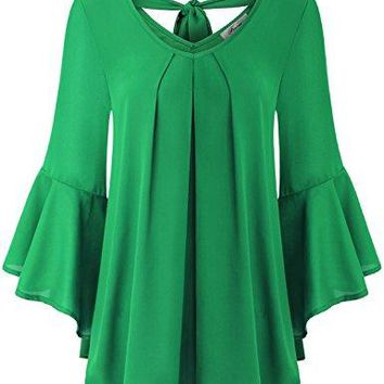 Finice Womens Cute V Neck 34 Bell Sleeve Pleated Front Chiffon Blouse